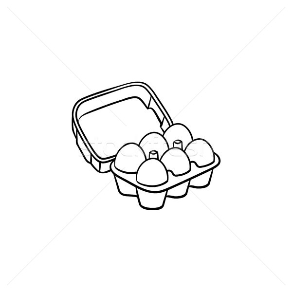 Eggs in carton pack hand drawn sketch icon. Stock photo © RAStudio