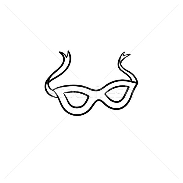 Stock photo: Carnival mask hand drawn sketch icon.