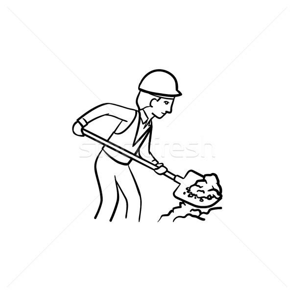 Builder with shovel hand drawn sketch icon. Stock photo © RAStudio