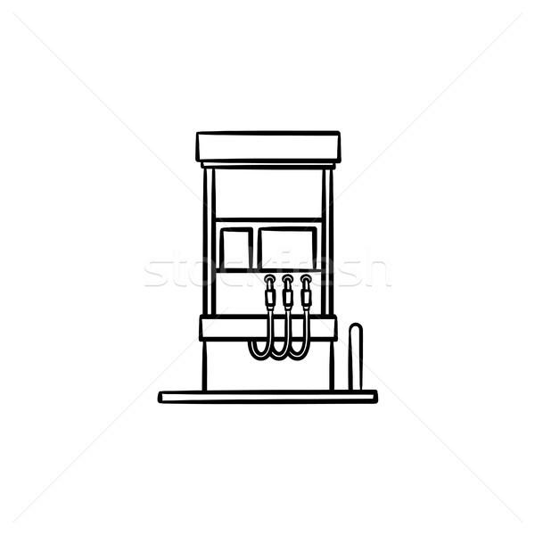 Gasolinera dibujado a mano boceto icono garabato Foto stock © RAStudio