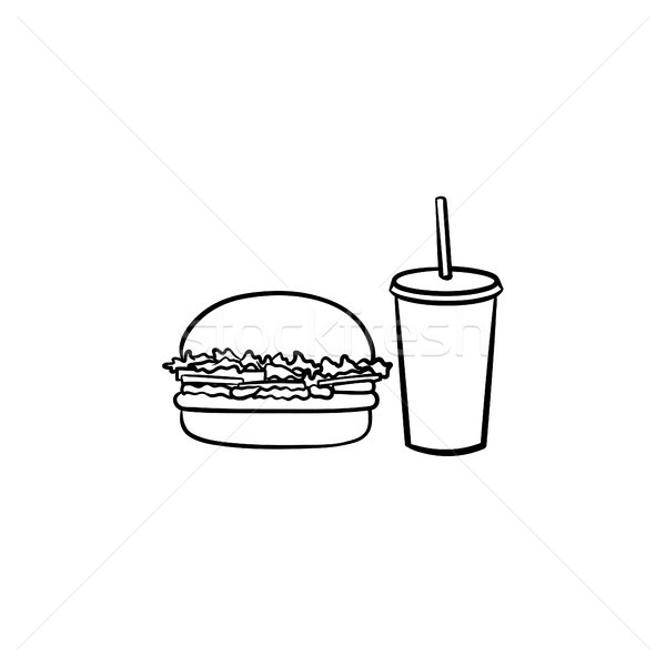 Food and beverage takeaway hand drawn sketch icon. Stock photo © RAStudio