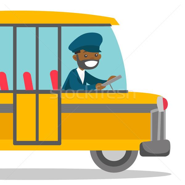 Negro autobús conductor sesión volante jóvenes Foto stock © RAStudio