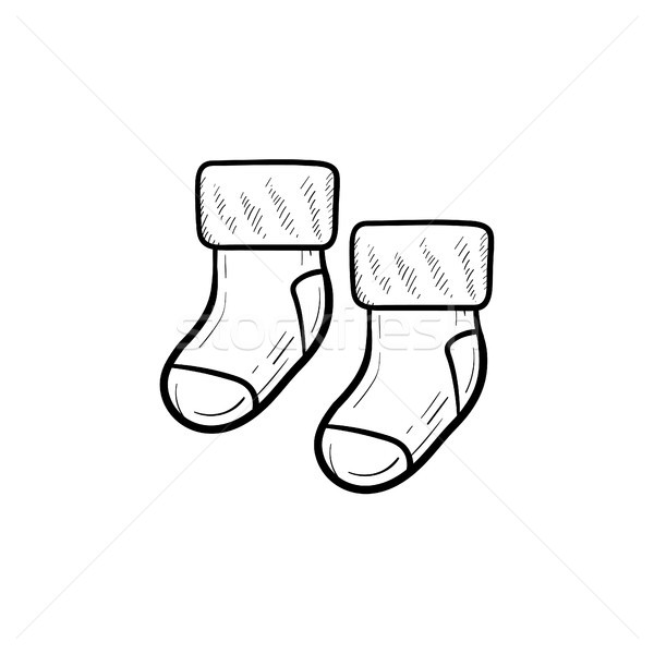 Baby pair of socks hand drawn outline doodle icon. Stock photo © RAStudio