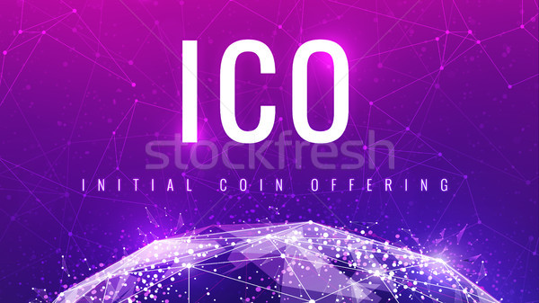 ICO initial coin offering ultraviolet banner. Stock photo © RAStudio