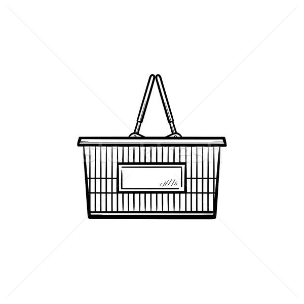 Bevásárlókosár kézzel rajzolt skicc firka ikon piac Stock fotó © RAStudio