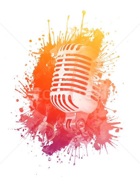 Starych mikrofon plama akwarela odizolowany biały Zdjęcia stock © RAStudio