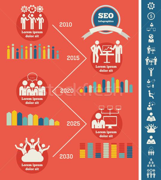 Közösségi média infografika sablon infografika meg ikon gyűjtemény Stock fotó © RAStudio