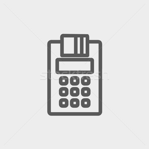 Electronic calculator with paper roll thin line icon Stock photo © RAStudio