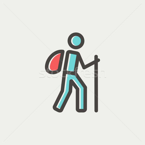 Hiking exercise thin line icon Stock photo © RAStudio