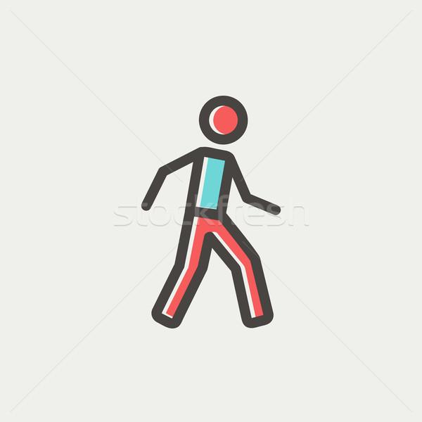 Waliking exercise thin line icon Stock photo © RAStudio