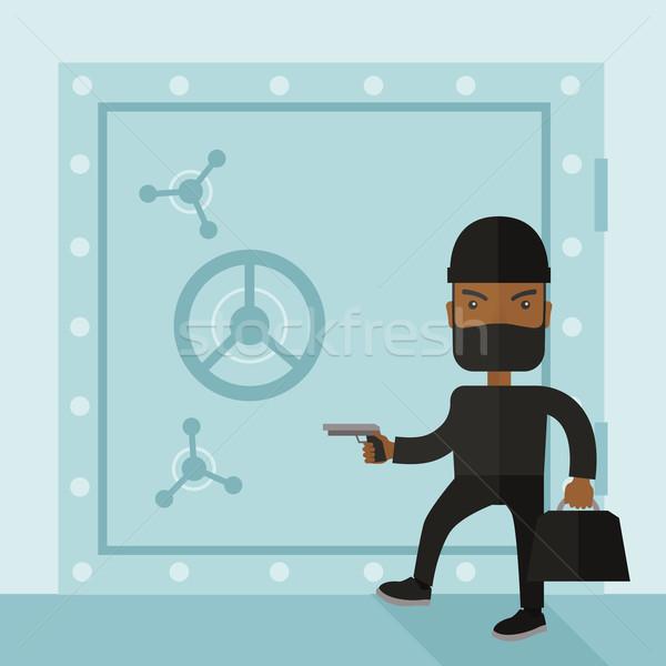Homem preto hackers banco seguro Foto stock © RAStudio