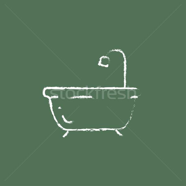 バスタブ シャワー アイコン チョーク 手描き ストックフォト © RAStudio