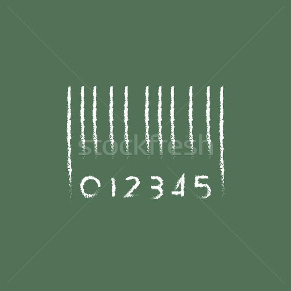 Barcode icône craie dessinés à la main tableau noir Photo stock © RAStudio