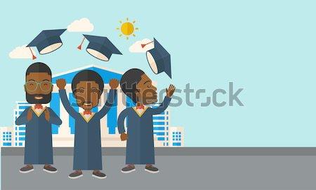 Diplomások boldog dob felfelé sapkák város Stock fotó © RAStudio