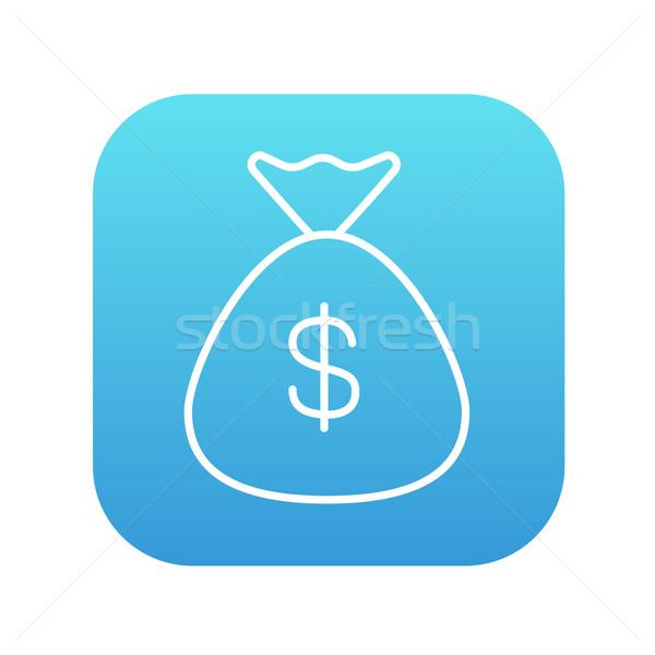 Pénz táska vonal ikon dollár szimbólum Stock fotó © RAStudio