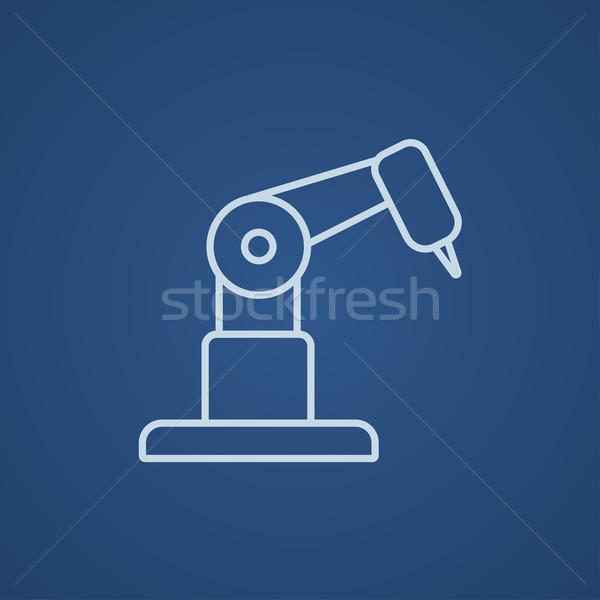Przemysłowych mechaniczny robot ramię line ikona Zdjęcia stock © RAStudio