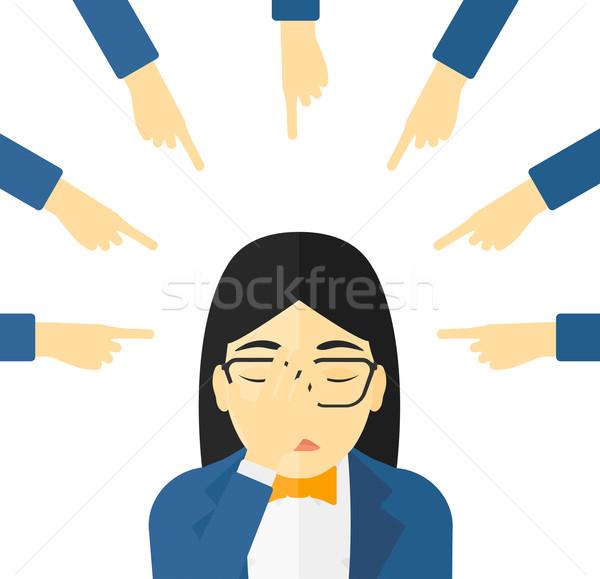 Culpable mujer mirando hacia abajo cara mano muchos Foto stock © RAStudio