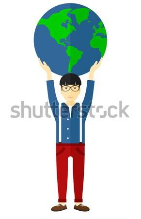Stockfoto: Man · wereldbol · groot · model · handen
