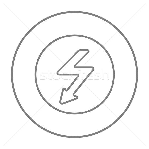 Bliksem pijl lijn icon beneden binnenkant Stockfoto © RAStudio