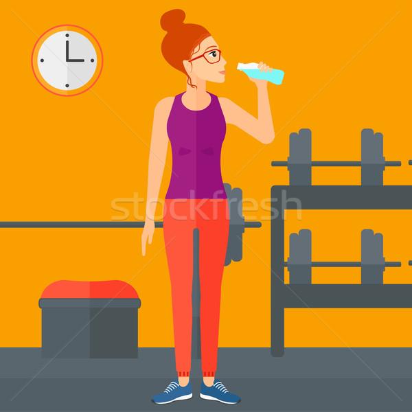 Mujer agua potable gimnasio vector diseno ilustración Foto stock © RAStudio
