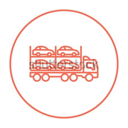 Okul otobüsü hat ikon web hareketli infographics Stok fotoğraf © RAStudio