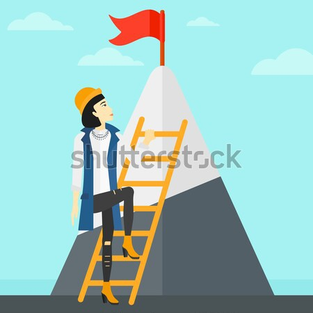 商业照片 / 矢量图: 女子 · 攀登 · 山 · 亚洲的 · 阶梯 / an
