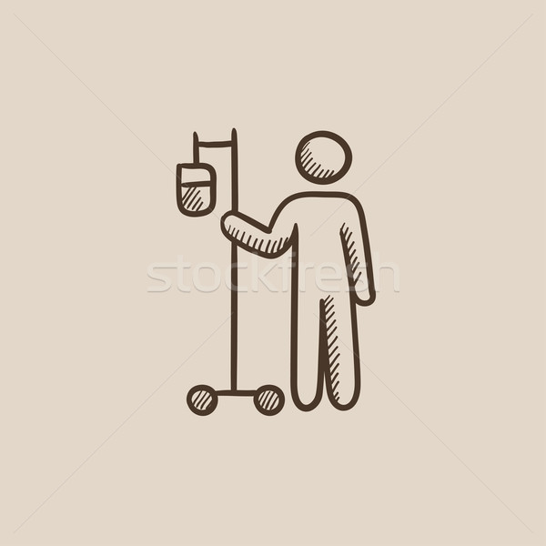 Patient standing with intravenous dropper sketch icon. Stock photo © RAStudio