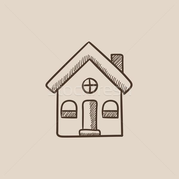 Maison individuelle croquis icône web mobiles infographie Photo stock © RAStudio