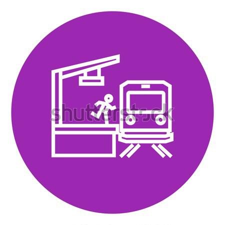 Homme courir plate-forme atteindre train ligne Photo stock © RAStudio