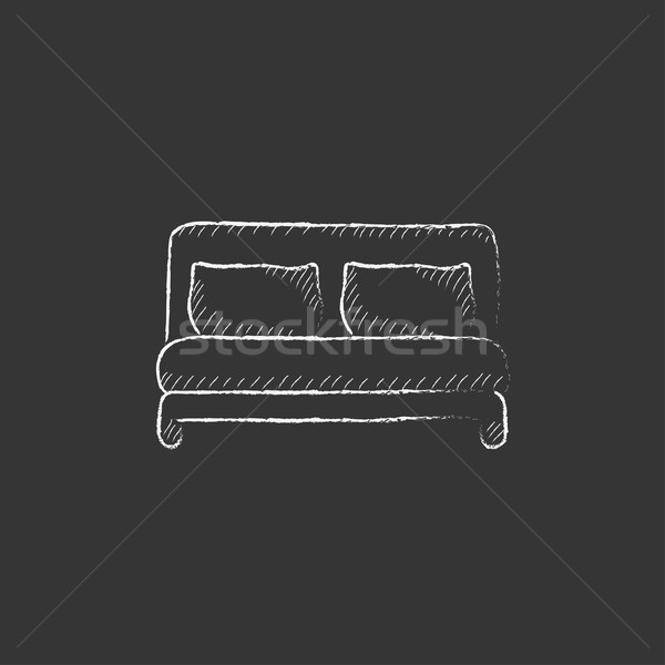 Verdubbelen bed krijt icon Stockfoto © RAStudio