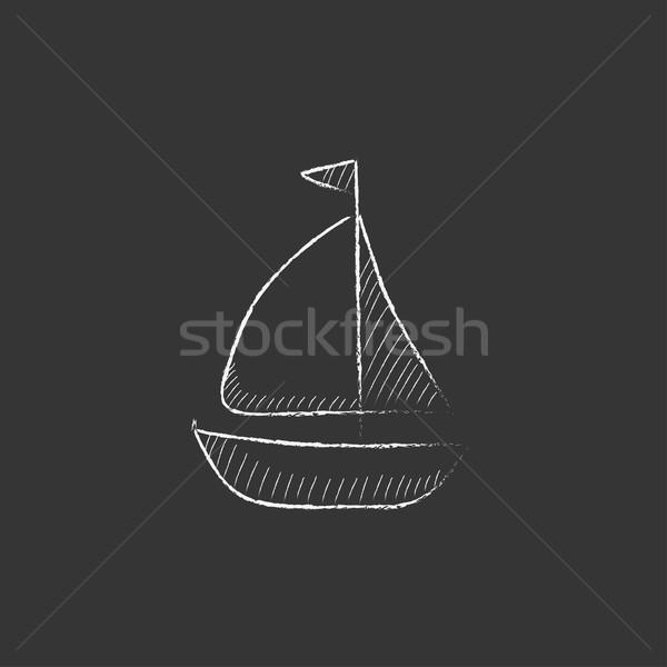 Sailboat. Drawn in chalk icon. Stock photo © RAStudio