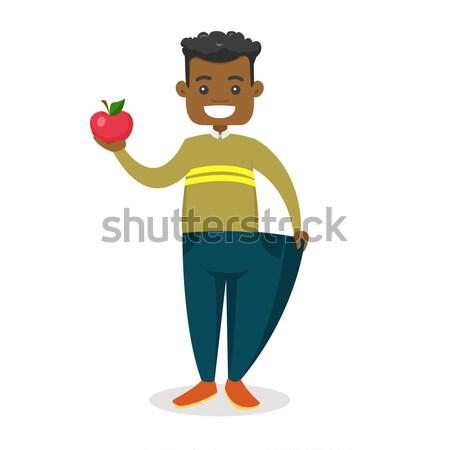 Adam elma kek ayakta mutfak eller Stok fotoğraf © RAStudio