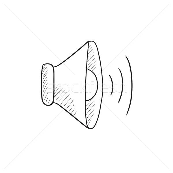 Konuşmacı hacim kroki ikon vektör yalıtılmış Stok fotoğraf © RAStudio