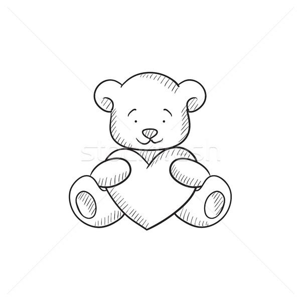 Foto stock: Ursinho · de · pelúcia · coração · esboço · ícone · vetor · isolado