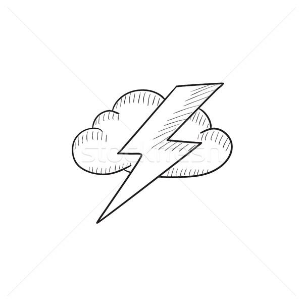 雲 稲妻 スケッチ アイコン ベクトル 孤立した ストックフォト © RAStudio