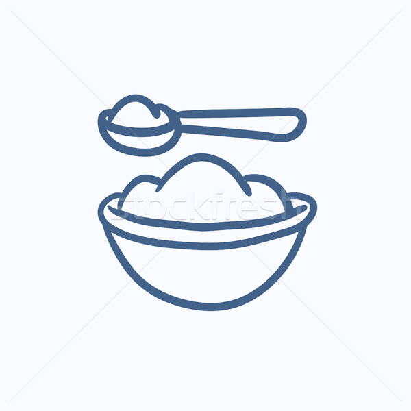 Baby spoon and bowl full of meal sketch icon. Stock photo © RAStudio