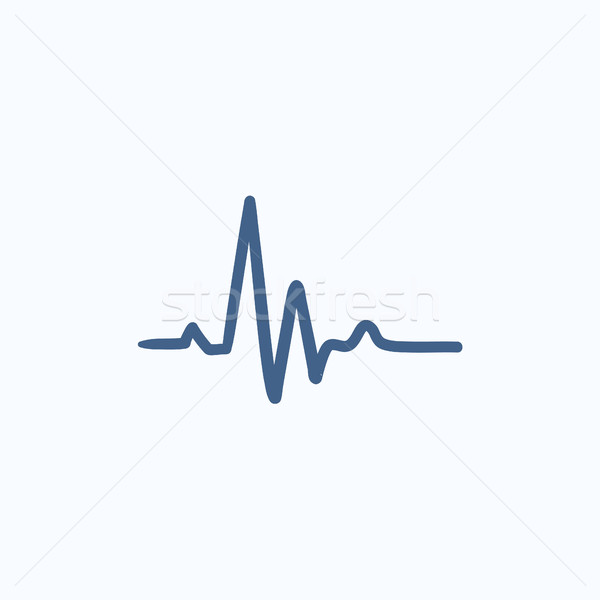 Heart beat cardiogram sketch icon. Stock photo © RAStudio