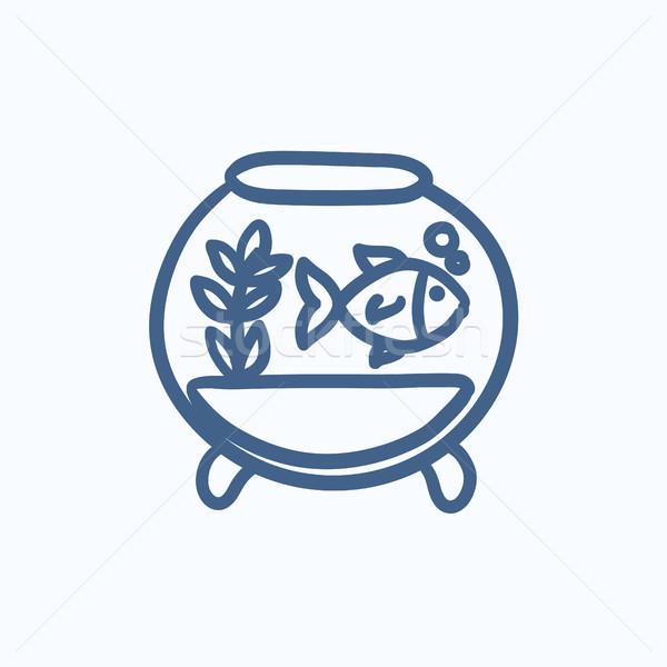 рыбы аквариум эскиз икона вектора изолированный Сток-фото © RAStudio