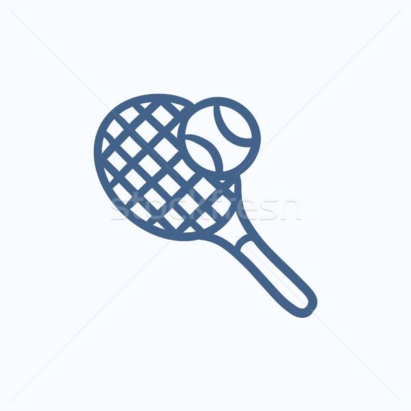 Teniszütő labda rajz ikon vektor izolált Stock fotó © RAStudio