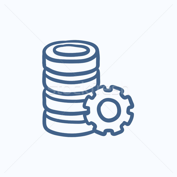Server with gear sketch icon. Stock photo © RAStudio