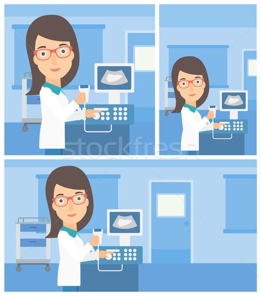 женщины ультразвук врач молодые рабочих современных Сток-фото © RAStudio