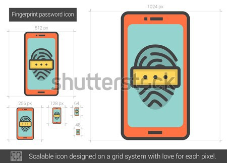 Fingerprint password line icon. Stock photo © RAStudio