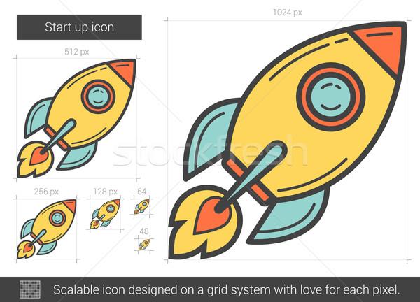 Stockfoto: Start · omhoog · lijn · icon · vector · geïsoleerd