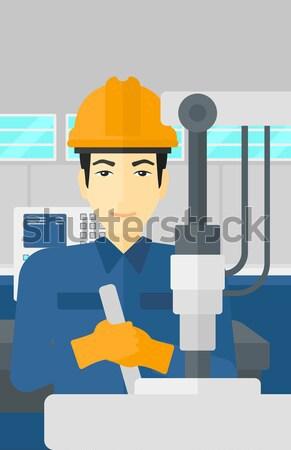 ストックフォト: 男 · 作業 · 産業 · 訓練 · マシン · アジア