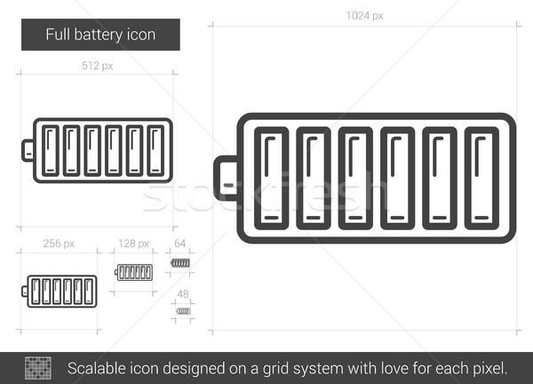 Photo stock: Plein · batterie · ligne · icône · vecteur · isolé