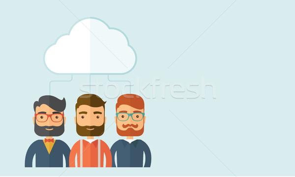 üzletemberek felhő három szomorú védelem üzlet Stock fotó © RAStudio