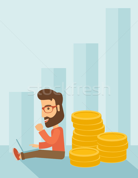 Businessman is sitting with pile of gold coins on his back. Stock photo © RAStudio
