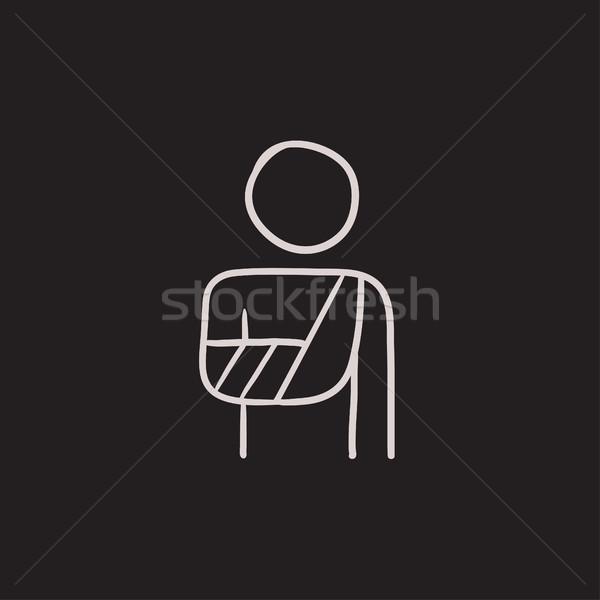 раненый человека эскиз икона вектора изолированный Сток-фото © RAStudio