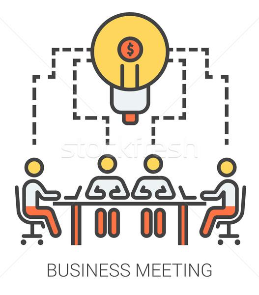 деловое совещание линия иконки метафора сайт Сток-фото © RAStudio