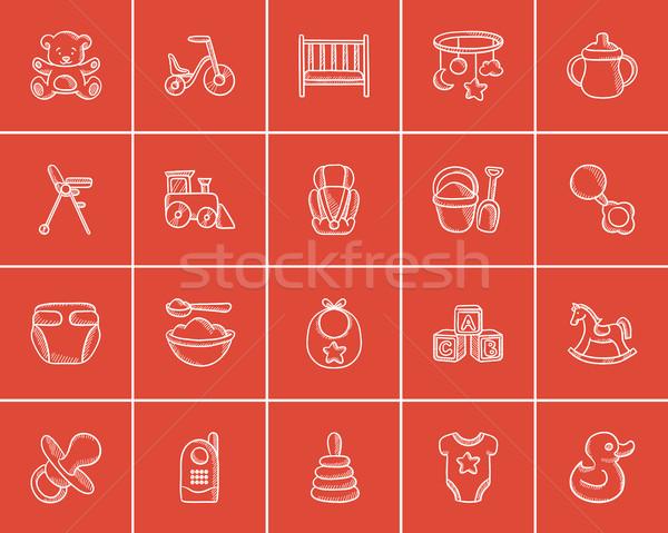 Kids sketch icon set. Stock photo © RAStudio